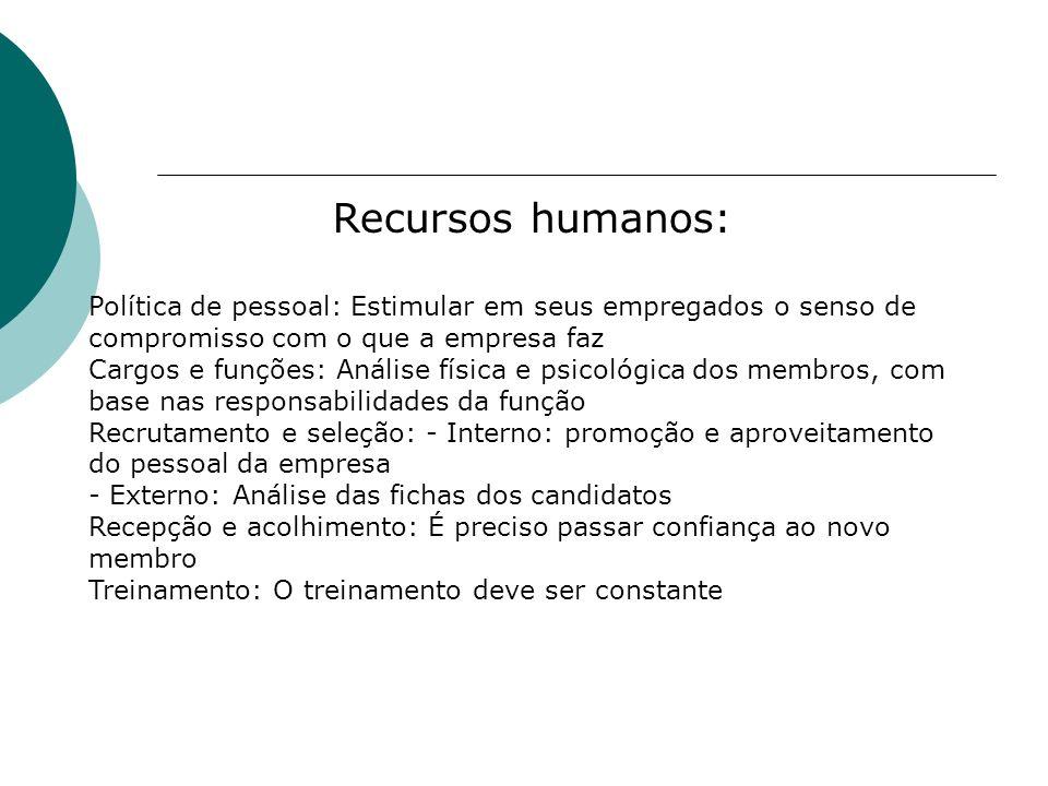 Recursos humanos: Política de pessoal: Estimular em seus empregados o senso de compromisso com o que a empresa faz Cargos e funções: Análise física e