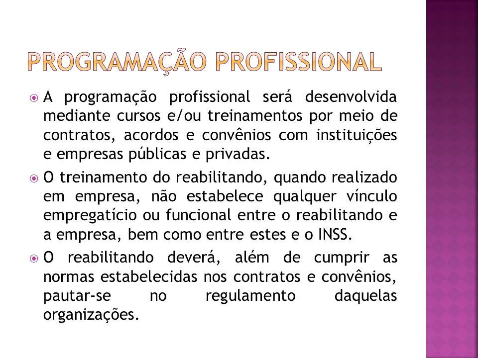 A programação profissional será desenvolvida mediante cursos e/ou treinamentos por meio de contratos, acordos e convênios com instituições e empresas