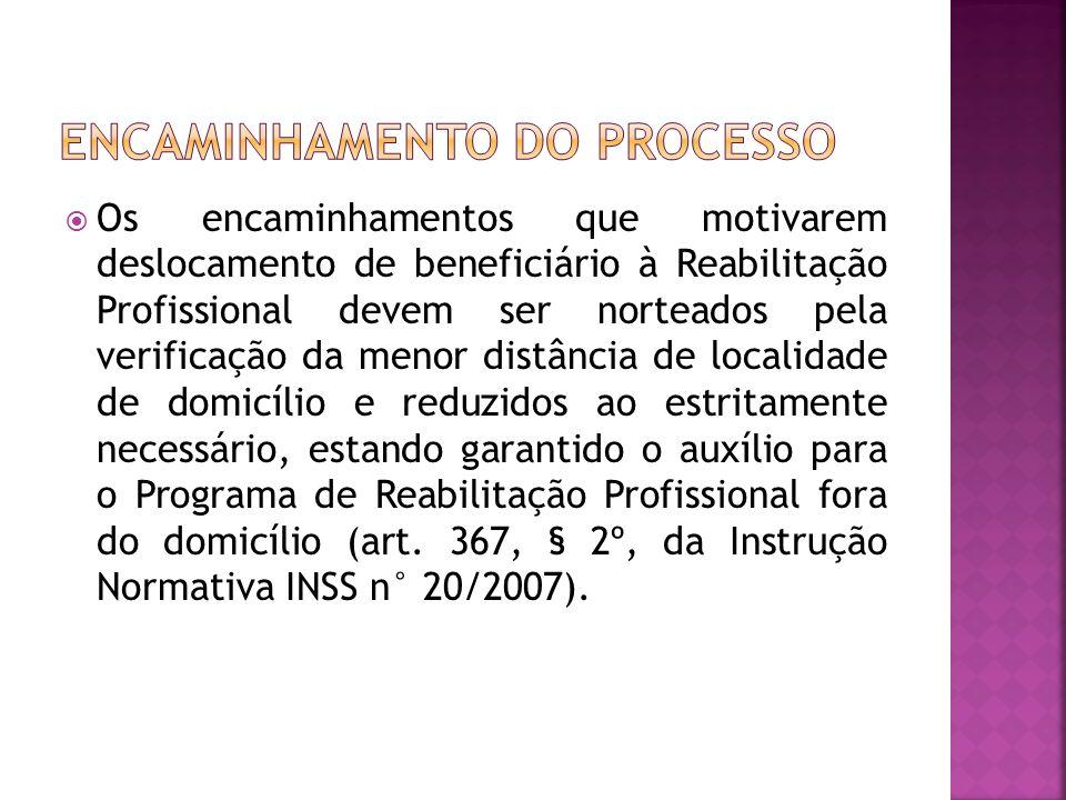 Os encaminhamentos que motivarem deslocamento de beneficiário à Reabilitação Profissional devem ser norteados pela verificação da menor distância de l