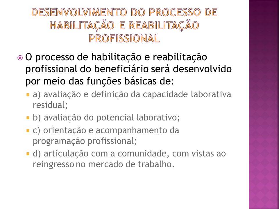 O processo de habilitação e reabilitação profissional do beneficiário será desenvolvido por meio das funções básicas de: a) avaliação e definição da c