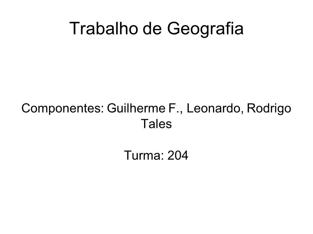 Trabalho de Geografia Componentes: Guilherme F., Leonardo, Rodrigo Tales Turma: 204