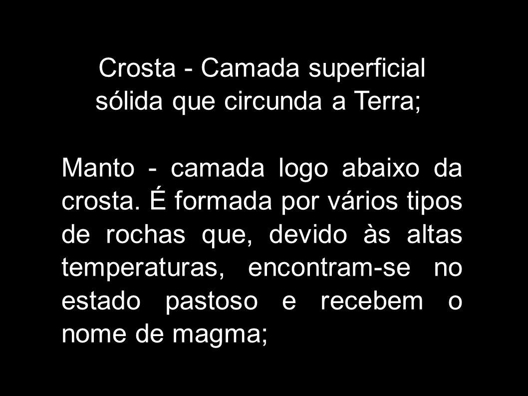Crosta - Camada superficial sólida que circunda a Terra; Manto - camada logo abaixo da crosta. É formada por vários tipos de rochas que, devido às alt