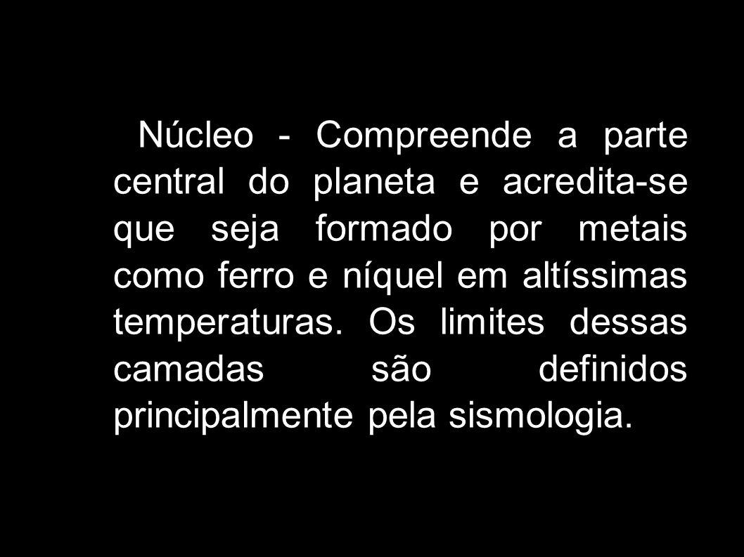 Núcleo - Compreende a parte central do planeta e acredita-se que seja formado por metais como ferro e níquel em altíssimas temperaturas. Os limites de