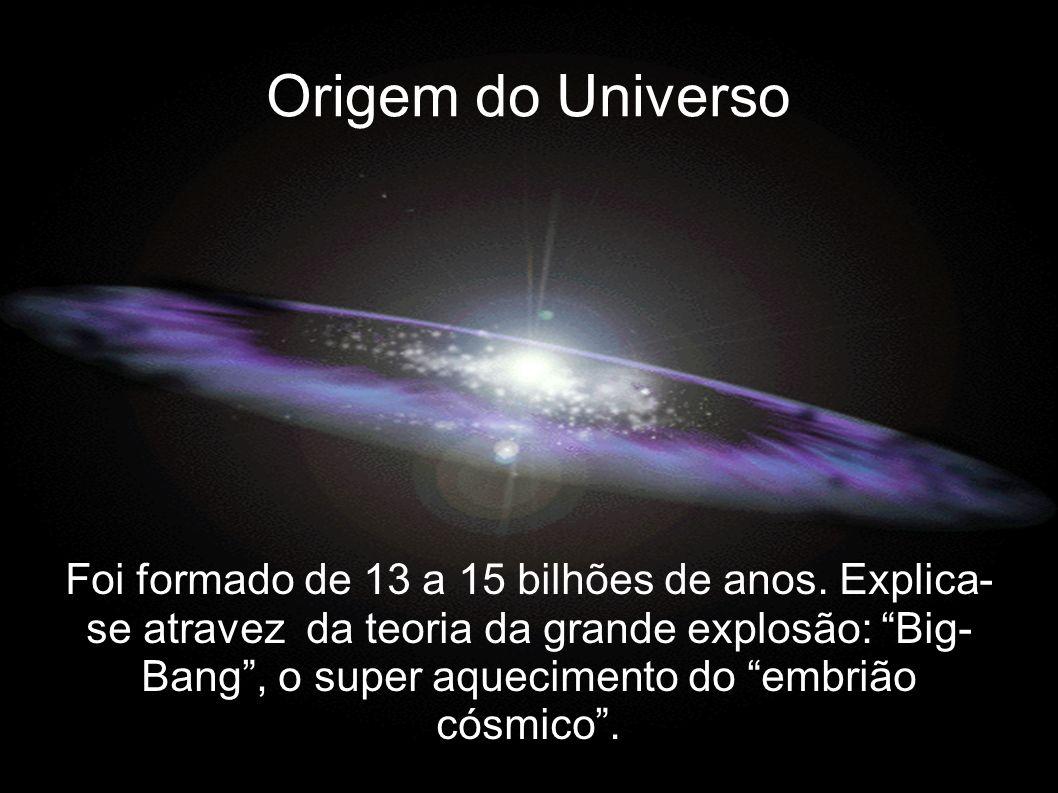Origem do Universo Foi formado de 13 a 15 bilhões de anos. Explica- se atravez da teoria da grande explosão: Big- Bang, o super aquecimento do embrião