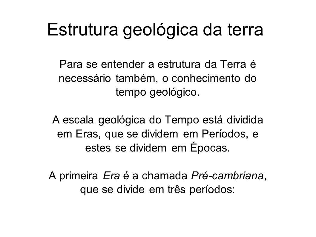 Estrutura geológica da terra Para se entender a estrutura da Terra é necessário também, o conhecimento do tempo geológico. A escala geológica do Tempo