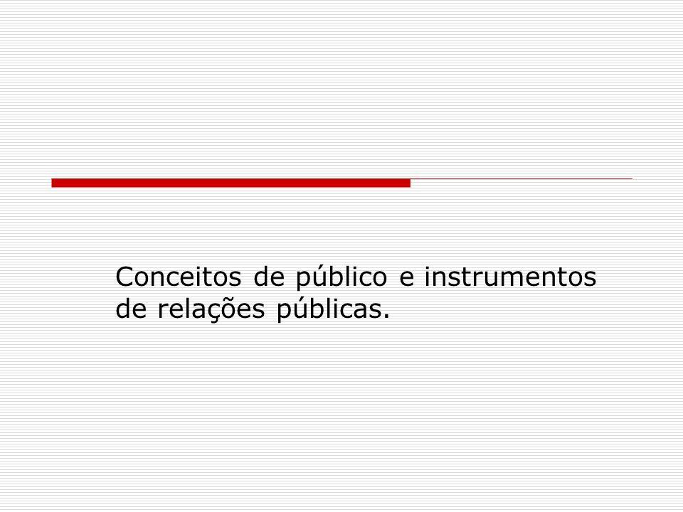 Conceitos de público e instrumentos de relações públicas.