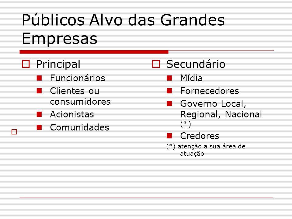 Públicos Alvo das Grandes Empresas Principal Funcionários Clientes ou consumidores Acionistas Comunidades Secundário Mídia Fornecedores Governo Local,