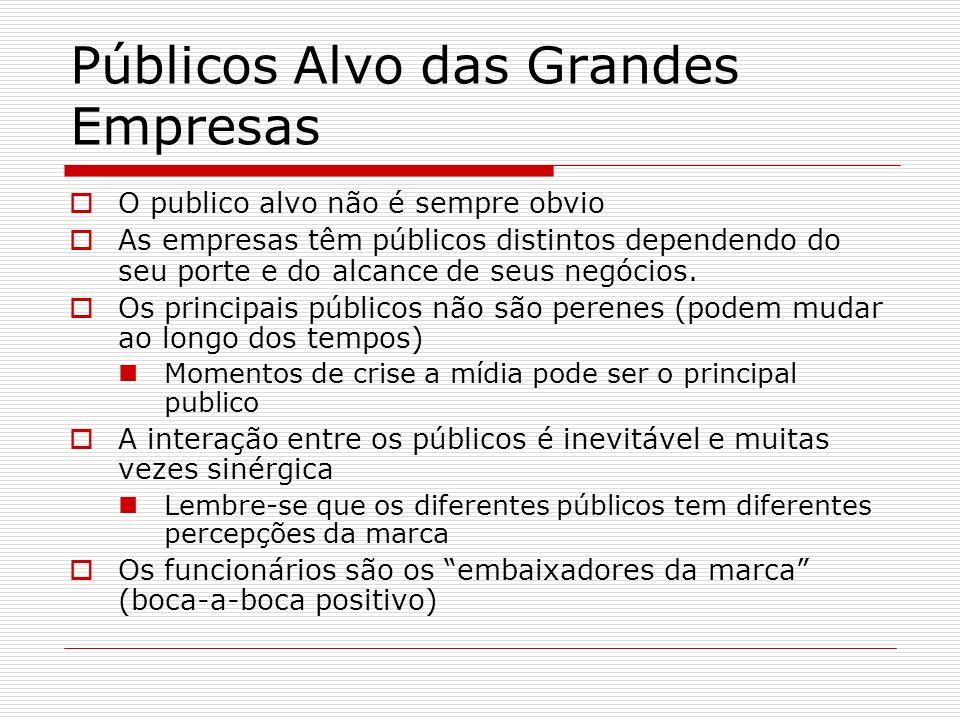 Públicos Alvo das Grandes Empresas O publico alvo não é sempre obvio As empresas têm públicos distintos dependendo do seu porte e do alcance de seus n