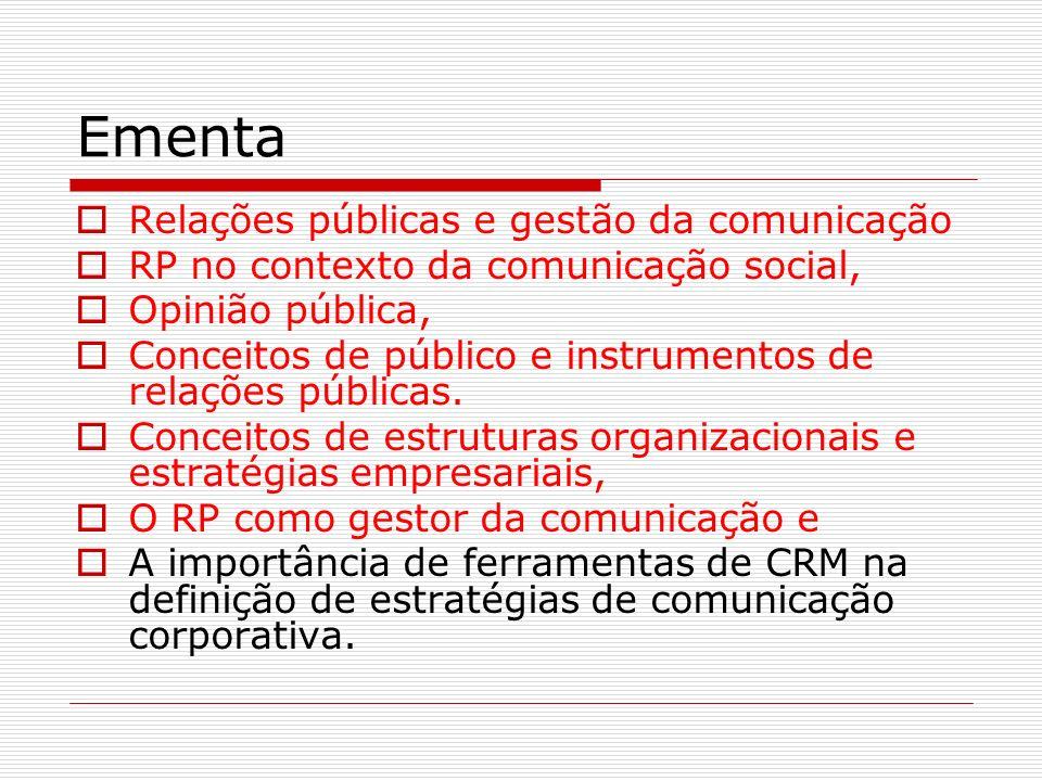 Ementa Relações públicas e gestão da comunicação RP no contexto da comunicação social, Opinião pública, Conceitos de público e instrumentos de relaçõe