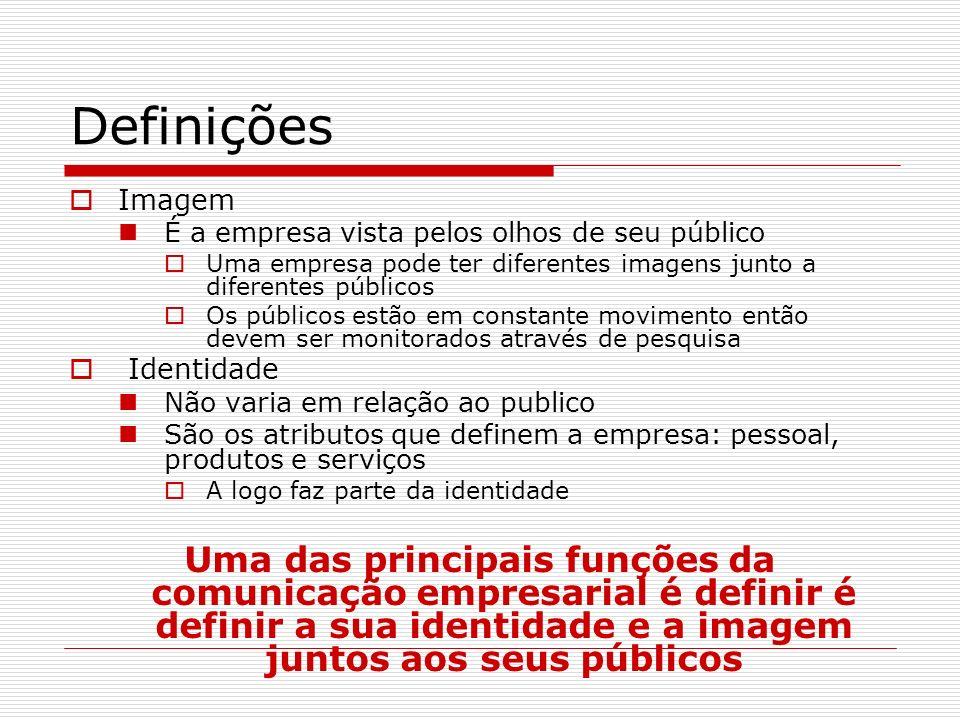 Definições Imagem É a empresa vista pelos olhos de seu público Uma empresa pode ter diferentes imagens junto a diferentes públicos Os públicos estão e