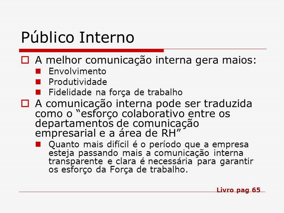 Público Interno A melhor comunicação interna gera maios: Envolvimento Produtividade Fidelidade na força de trabalho A comunicação interna pode ser tra