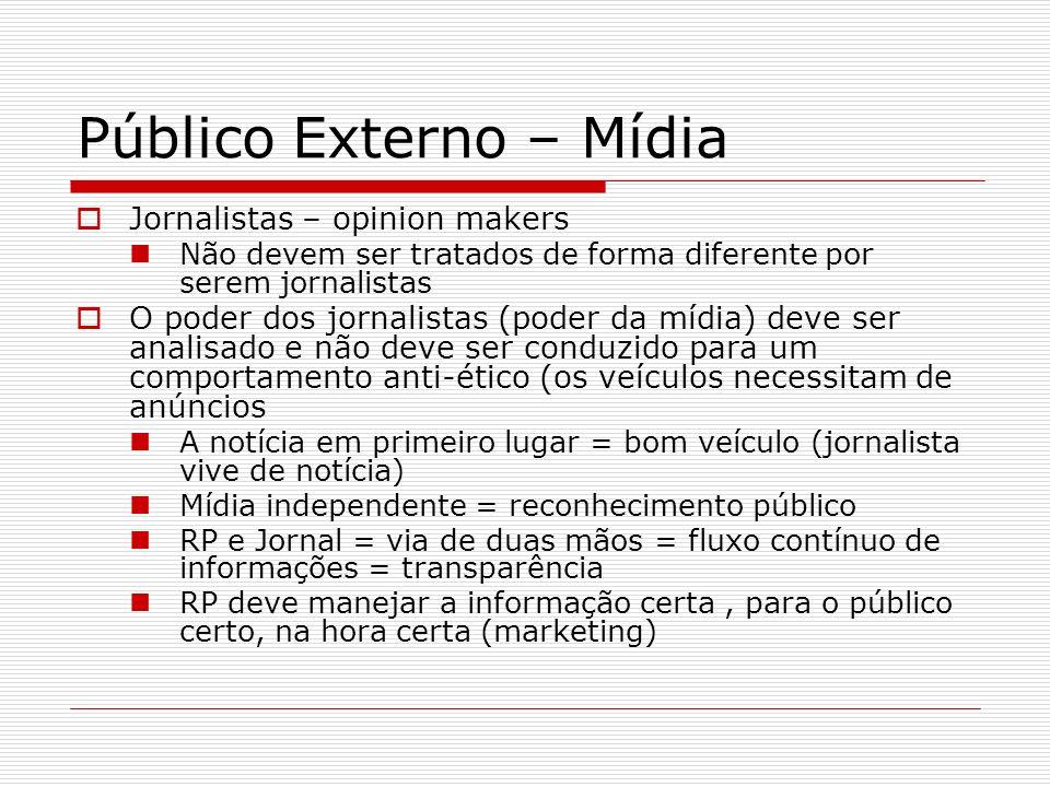 Público Externo – Mídia Jornalistas – opinion makers Não devem ser tratados de forma diferente por serem jornalistas O poder dos jornalistas (poder da