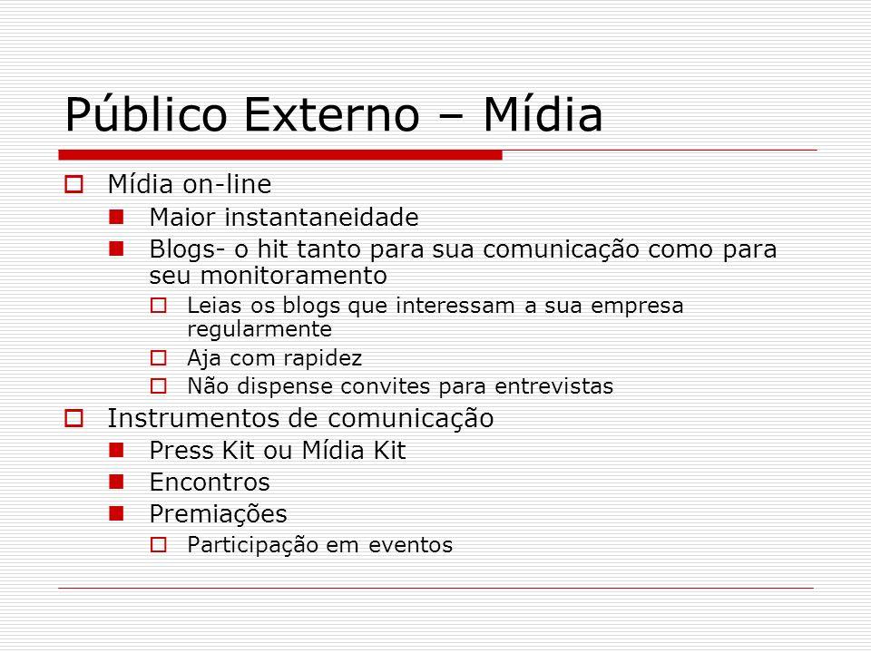 Público Externo – Mídia Mídia on-line Maior instantaneidade Blogs- o hit tanto para sua comunicação como para seu monitoramento Leias os blogs que int