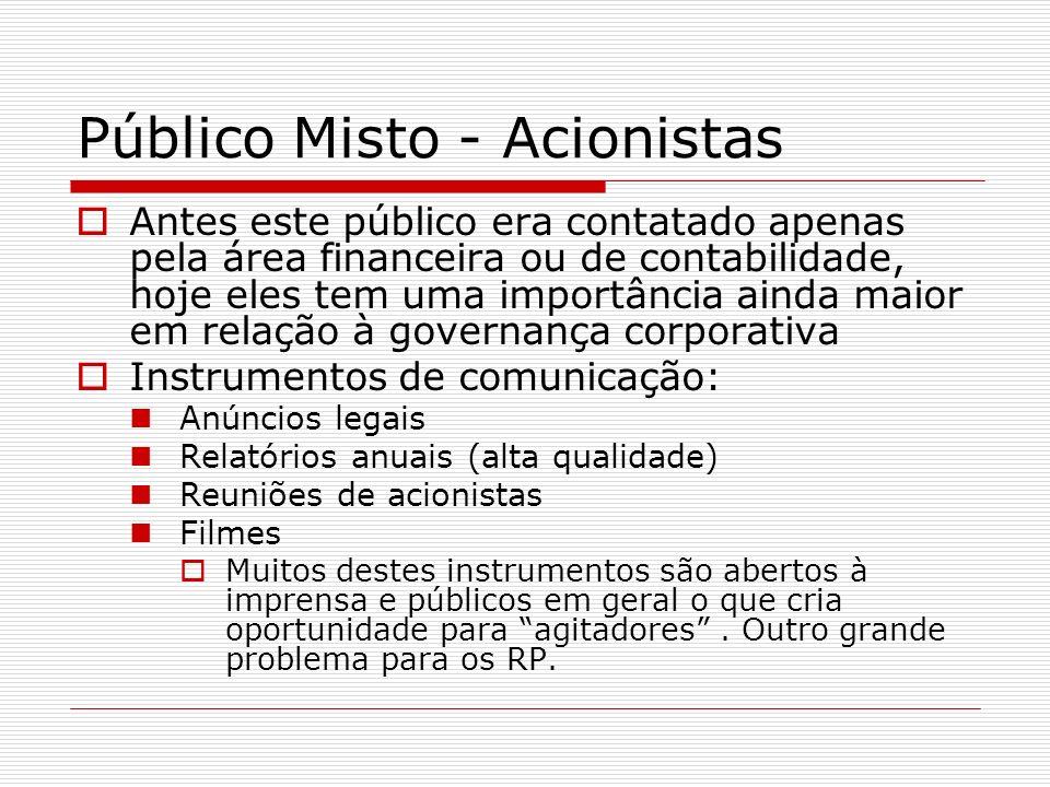 Público Misto - Acionistas Antes este público era contatado apenas pela área financeira ou de contabilidade, hoje eles tem uma importância ainda maior