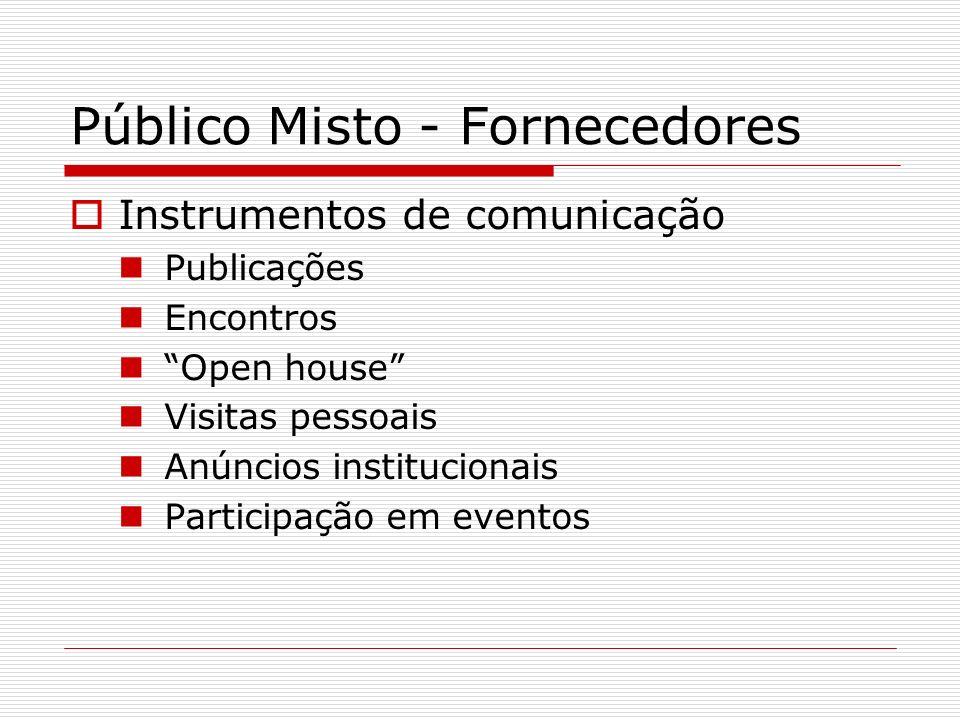 Público Misto - Fornecedores Instrumentos de comunicação Publicações Encontros Open house Visitas pessoais Anúncios institucionais Participação em eve