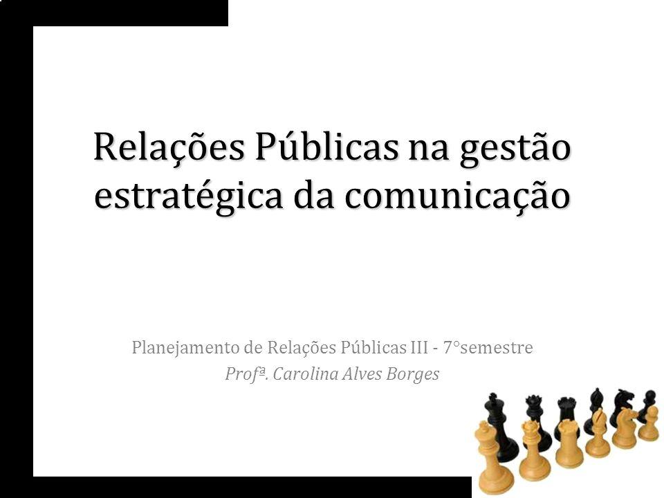 Relações Públicas na gestão estratégica da comunicação Planejamento de Relações Públicas III - 7°semestre Profª. Carolina Alves Borges