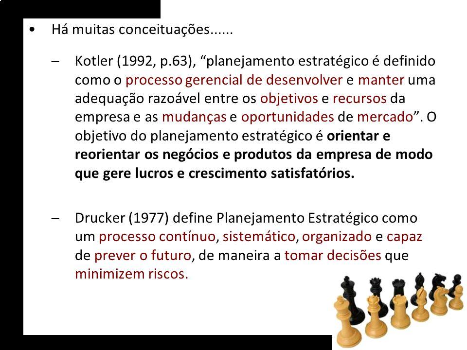 Há muitas conceituações...... –Kotler (1992, p.63), planejamento estratégico é definido como o processo gerencial de desenvolver e manter uma adequaçã