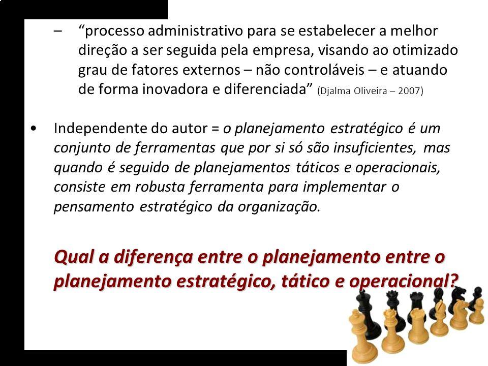 –processo administrativo para se estabelecer a melhor direção a ser seguida pela empresa, visando ao otimizado grau de fatores externos – não controlá