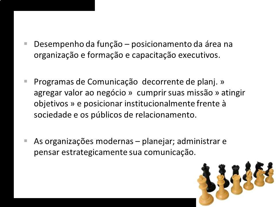 Desempenho da função – posicionamento da área na organização e formação e capacitação executivos. Programas de Comunicação decorrente de planj. » agre