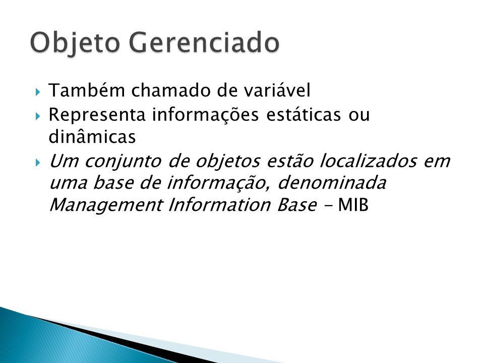 Também chamado de variável Representa informações estáticas ou dinâmicas Um conjunto de objetos estão localizados em uma base de informação, denominad