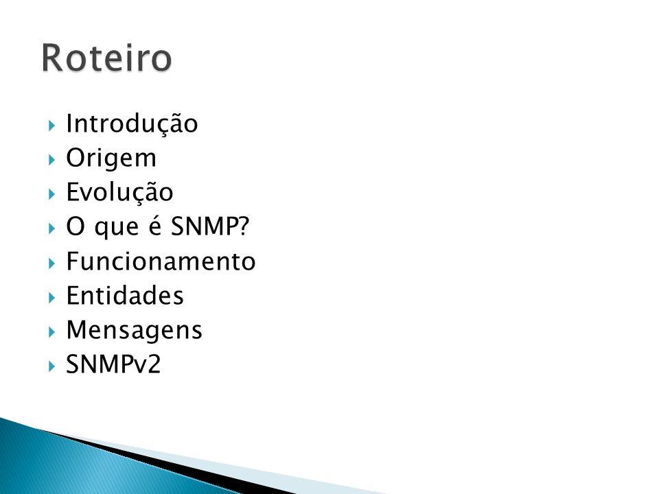 Introdução Origem Evolução O que é SNMP? Funcionamento Entidades Mensagens SNMPv2