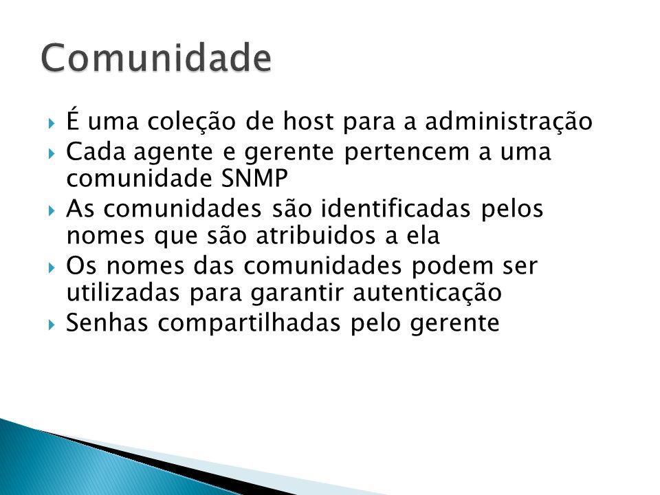 É uma coleção de host para a administração Cada agente e gerente pertencem a uma comunidade SNMP As comunidades são identificadas pelos nomes que são