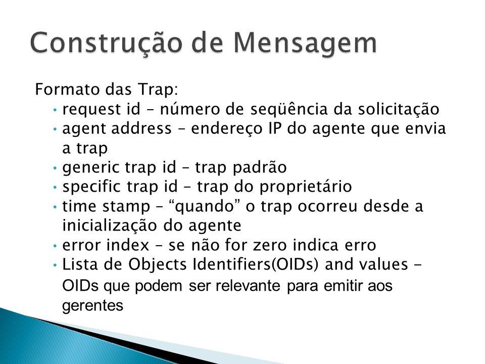 Formato das Trap: request id – número de seqüência da solicitação agent address – endereço IP do agente que envia a trap generic trap id – trap padrão