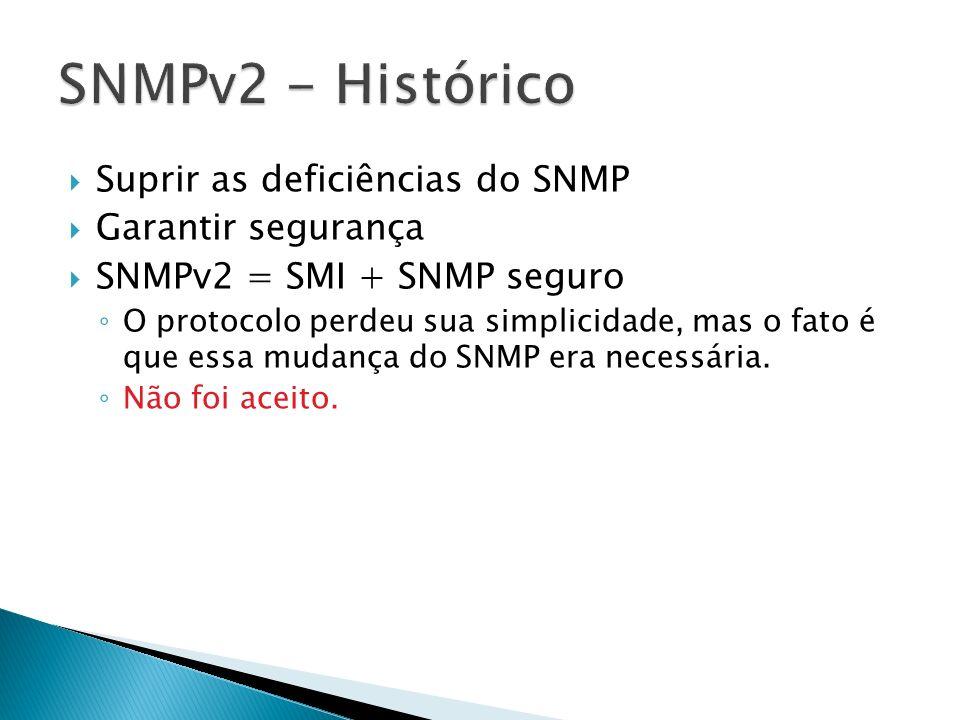 Suprir as deficiências do SNMP Garantir segurança SNMPv2 = SMI + SNMP seguro O protocolo perdeu sua simplicidade, mas o fato é que essa mudança do SNM