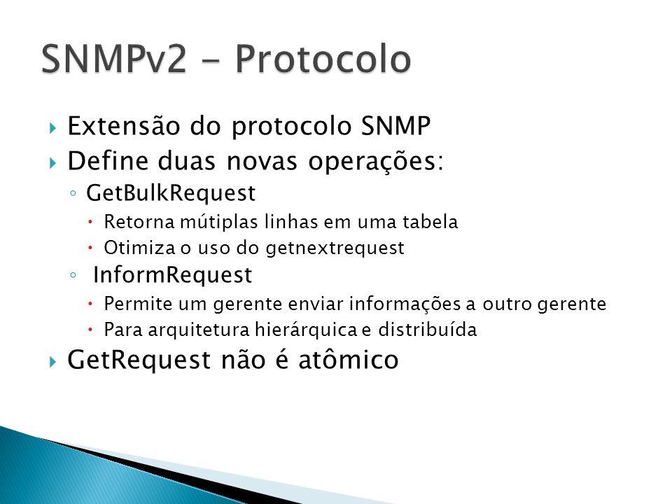 Extensão do protocolo SNMP Define duas novas operações: GetBulkRequest Retorna mútiplas linhas em uma tabela Otimiza o uso do getnextrequest InformReq