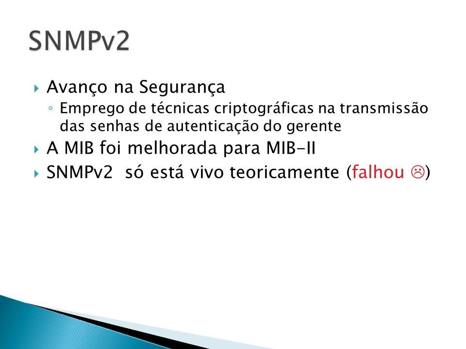 Avanço na Segurança Emprego de técnicas criptográficas na transmissão das senhas de autenticação do gerente A MIB foi melhorada para MIB-II SNMPv2 só