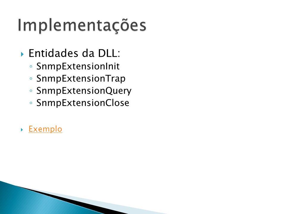 Entidades da DLL: SnmpExtensionInit SnmpExtensionTrap SnmpExtensionQuery SnmpExtensionClose Exemplo