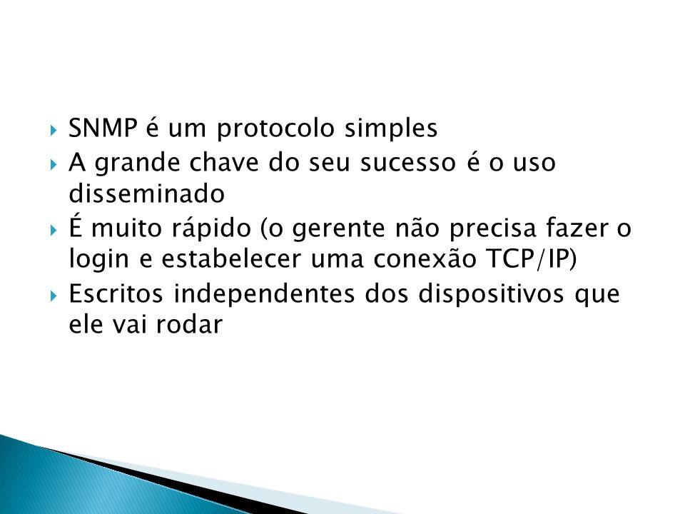 SNMP é um protocolo simples A grande chave do seu sucesso é o uso disseminado É muito rápido (o gerente não precisa fazer o login e estabelecer uma co