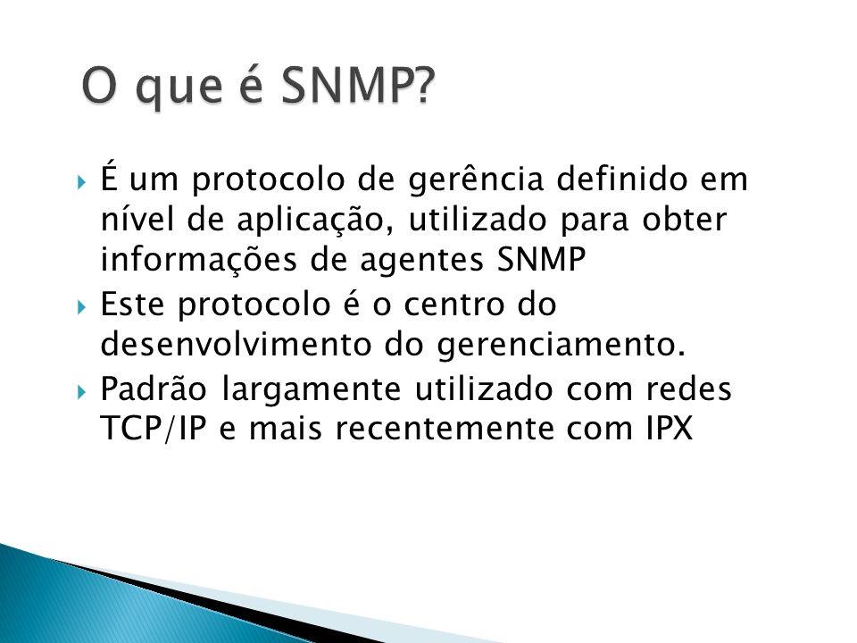 É um protocolo de gerência definido em nível de aplicação, utilizado para obter informações de agentes SNMP Este protocolo é o centro do desenvolvimen