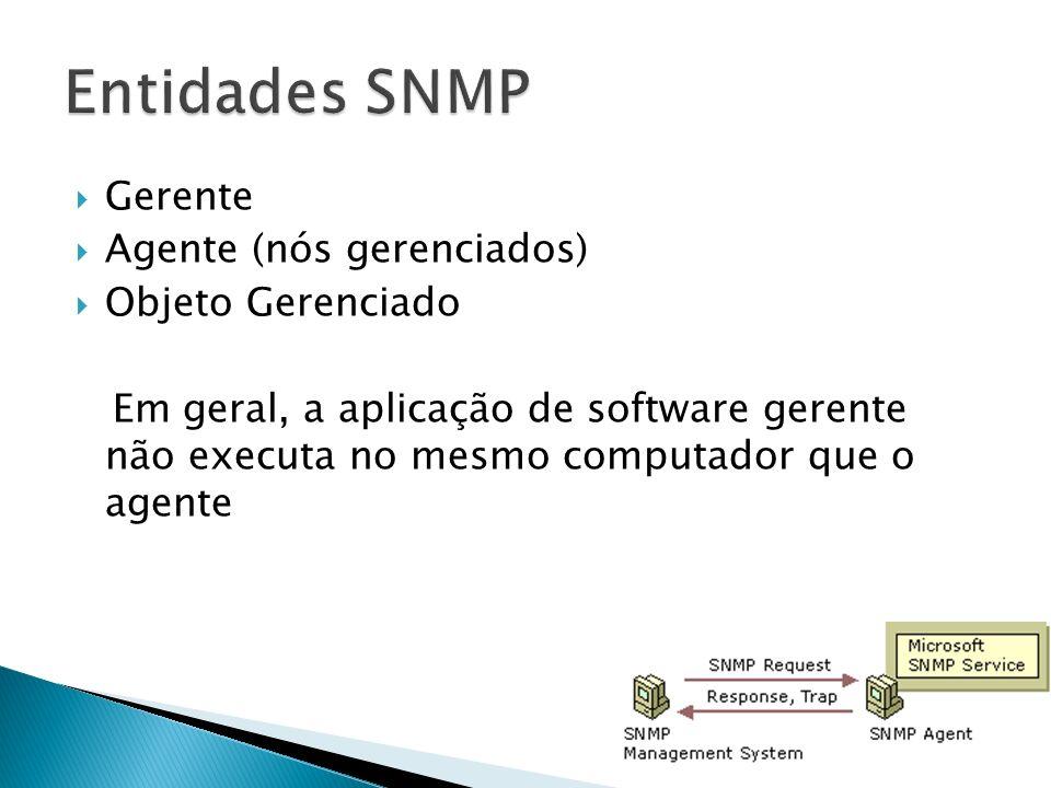 Gerente Agente (nós gerenciados) Objeto Gerenciado Em geral, a aplicação de software gerente não executa no mesmo computador que o agente