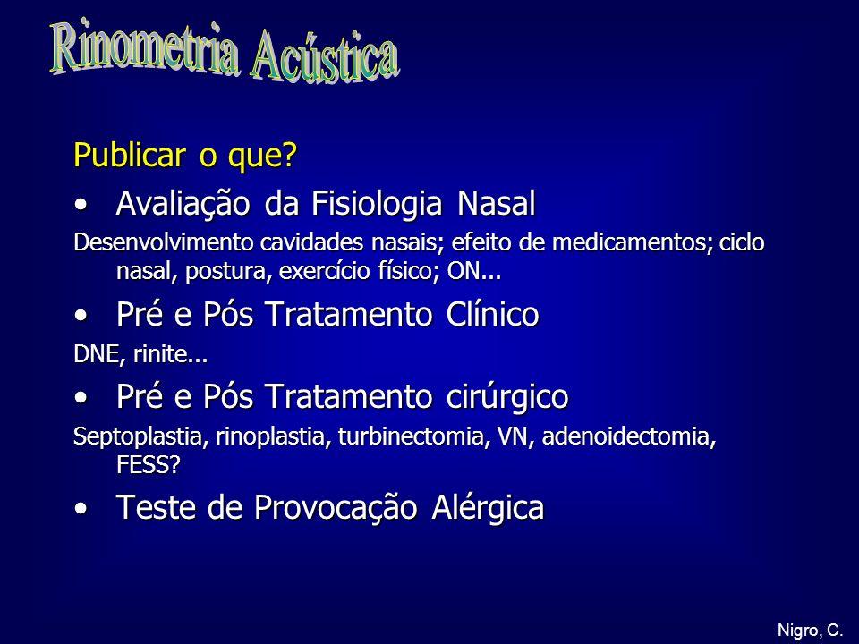 Publicar o que? Avaliação da Fisiologia NasalAvaliação da Fisiologia Nasal Desenvolvimento cavidades nasais; efeito de medicamentos; ciclo nasal, post