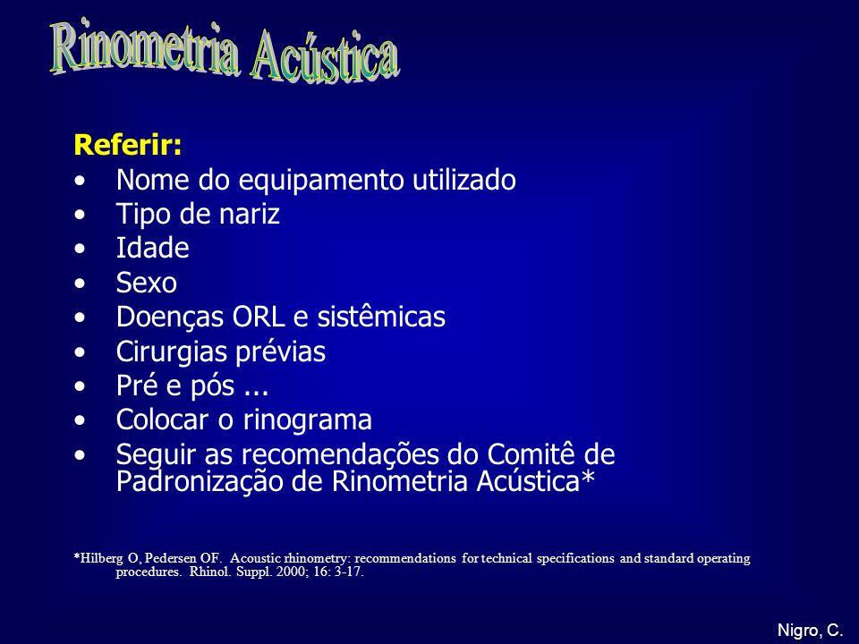Nigro, C. Referir: Nome do equipamento utilizado Tipo de nariz Idade Sexo Doenças ORL e sistêmicas Cirurgias prévias Pré e pós... Colocar o rinograma
