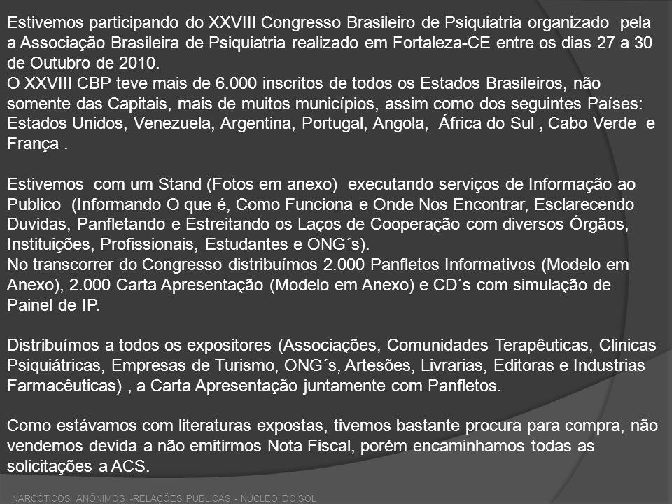 Estivemos participando do XXVIII Congresso Brasileiro de Psiquiatria organizado pela a Associação Brasileira de Psiquiatria realizado em Fortaleza-CE