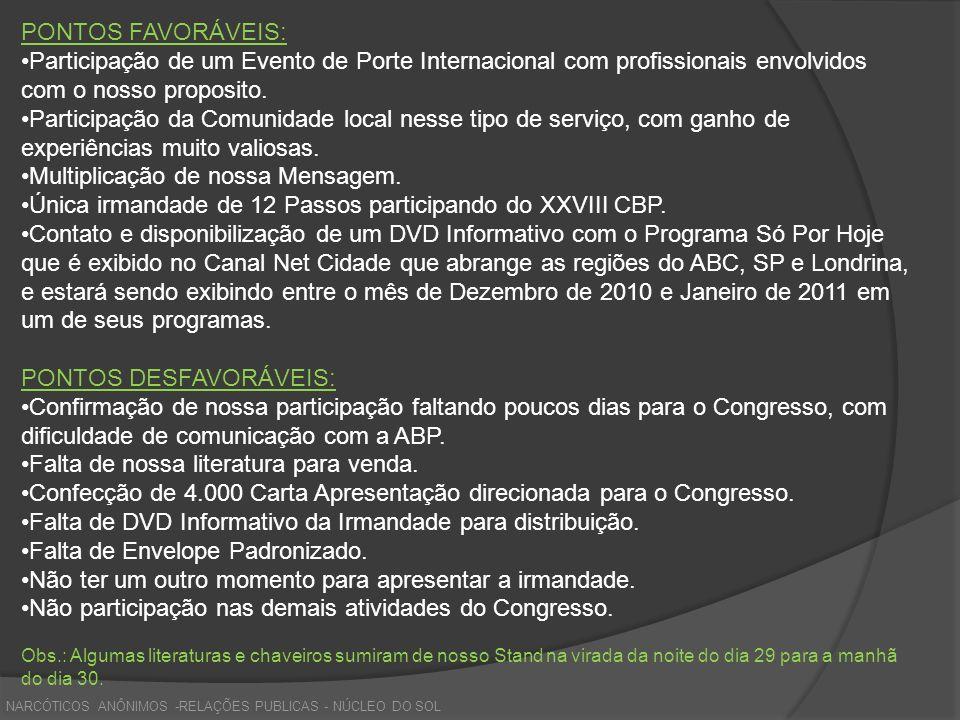PONTOS FAVORÁVEIS: Participação de um Evento de Porte Internacional com profissionais envolvidos com o nosso proposito. Participação da Comunidade loc