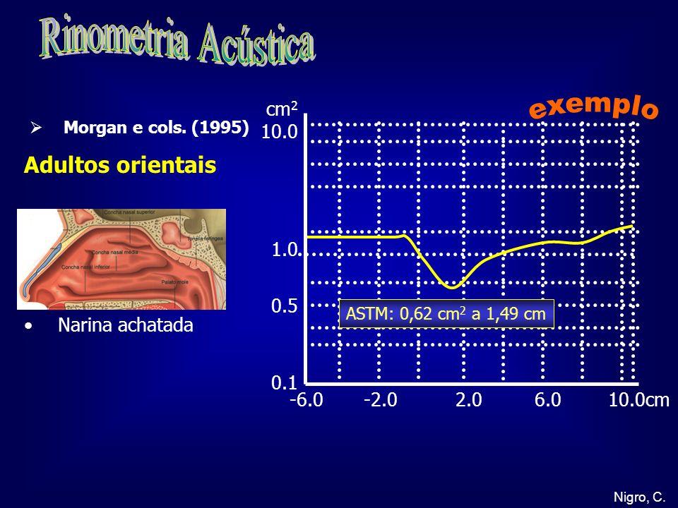 Nigro, C. -6.0 -2.0 2.0 6.0 10.0cm cm 2 10.0 1.0 0.5 0.1 Adultos orientais Narina achatada ASTM: 0,62 cm 2 a 1,49 cm Morgan e cols. (1995)