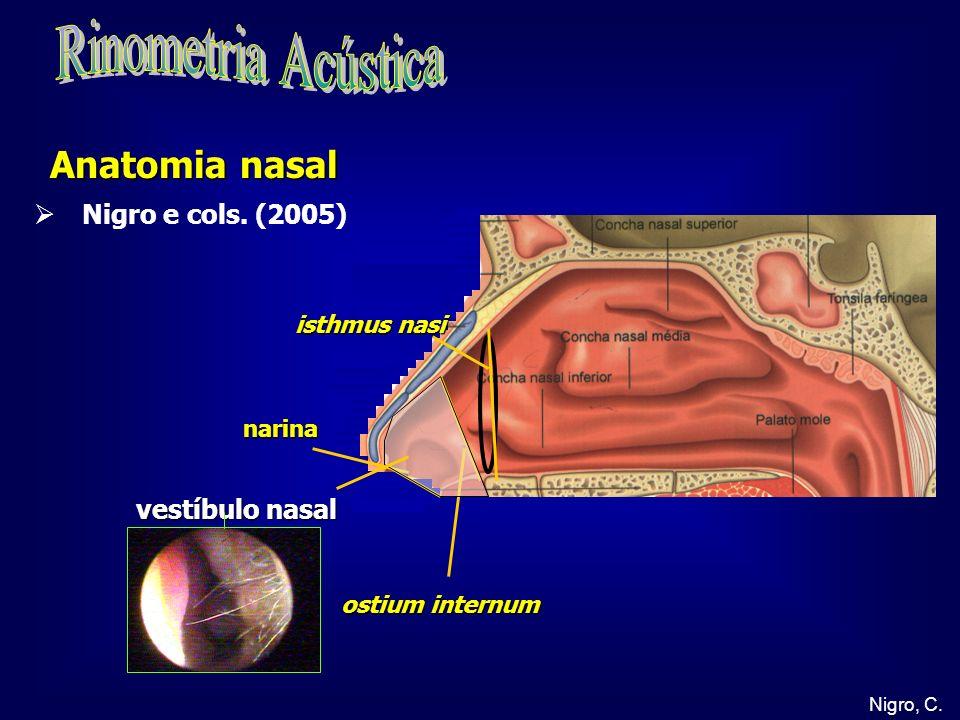 Nigro, C. narina vestíbulo nasal Anatomia nasal ostium internum isthmus nasi Nigro e cols. (2005)