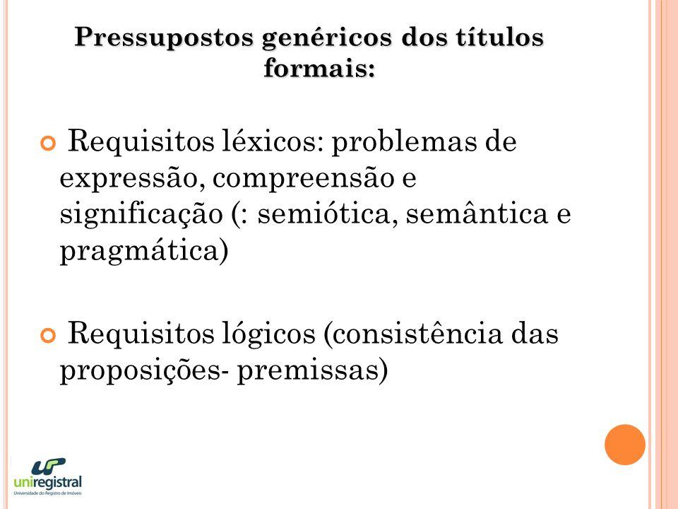 Requisitos discursivos (coerência entre as premissas e a conclusão) Requisitos jurídicos (viabilidade jurídica dos títulos è legalidade, tipicidade ou atipicidade, exemplaridade ou taxatividade)