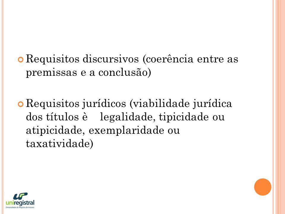 Requisitos discursivos (coerência entre as premissas e a conclusão) Requisitos jurídicos (viabilidade jurídica dos títulos è legalidade, tipicidade ou