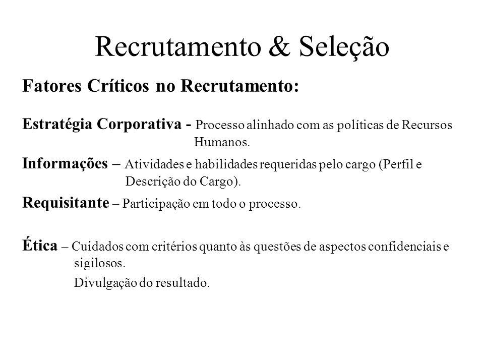 Recrutamento & Seleção Fatores Críticos no Recrutamento: Estratégia Corporativa - Processo alinhado com as políticas de Recursos Humanos. Informações
