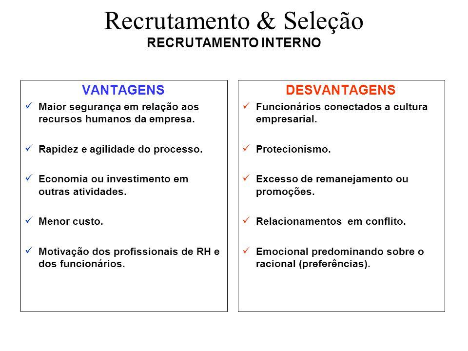 Recrutamento & Seleção RECRUTAMENTO INTERNO VANTAGENS Maior segurança em relação aos recursos humanos da empresa. Rapidez e agilidade do processo. Eco