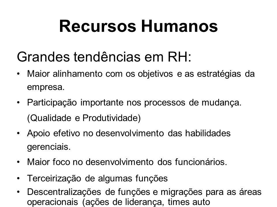 Recursos Humanos Grandes tendências em RH: Maior alinhamento com os objetivos e as estratégias da empresa. Participação importante nos processos de mu