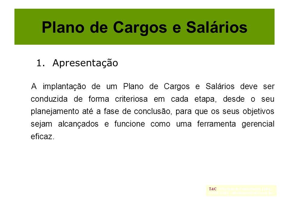 Plano de Cargos e Salários A implantação de um Plano de Cargos e Salários deve ser conduzida de forma criteriosa em cada etapa, desde o seu planejamen