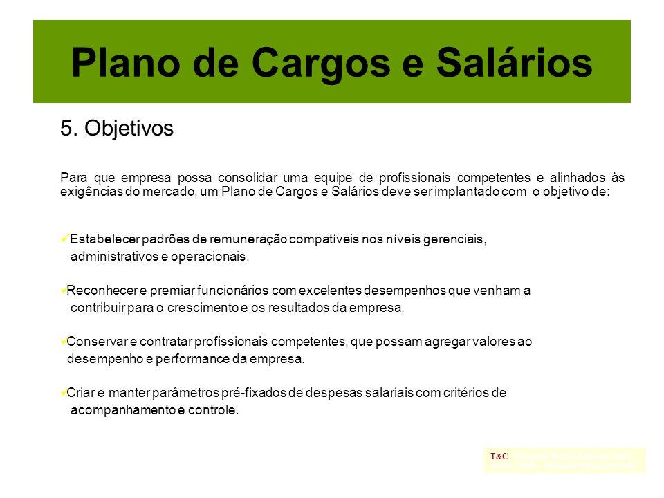 5. Objetivos Para que empresa possa consolidar uma equipe de profissionais competentes e alinhados às exigências do mercado, um Plano de Cargos e Salá