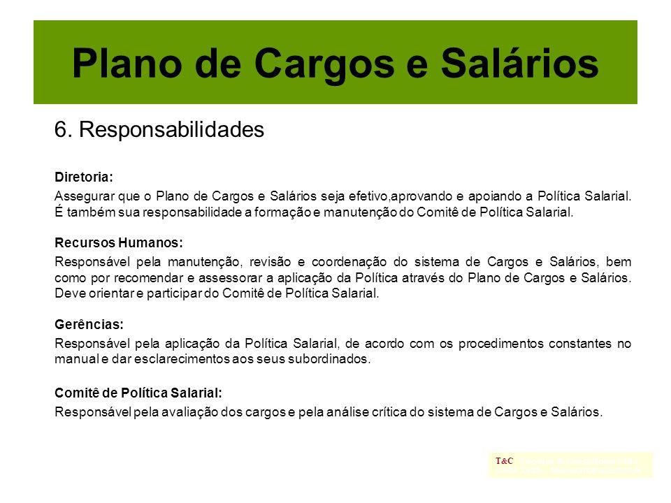 6. Responsabilidades Diretoria: Assegurar que o Plano de Cargos e Salários seja efetivo,aprovando e apoiando a Política Salarial. É também sua respons