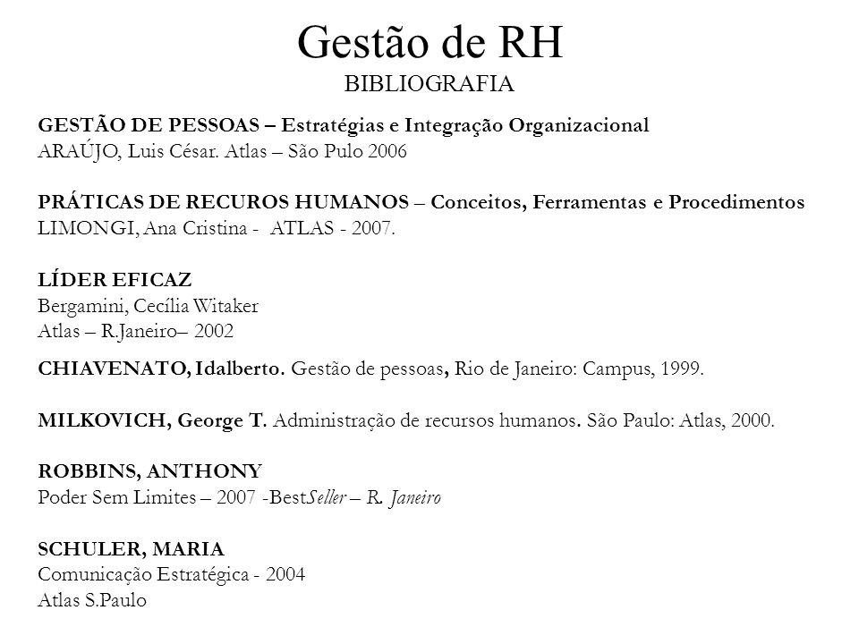 Gestão de RH BIBLIOGRAFIA GESTÃO DE PESSOAS – Estratégias e Integração Organizacional ARAÚJO, Luis César. Atlas – São Pulo 2006 PRÁTICAS DE RECUROS HU