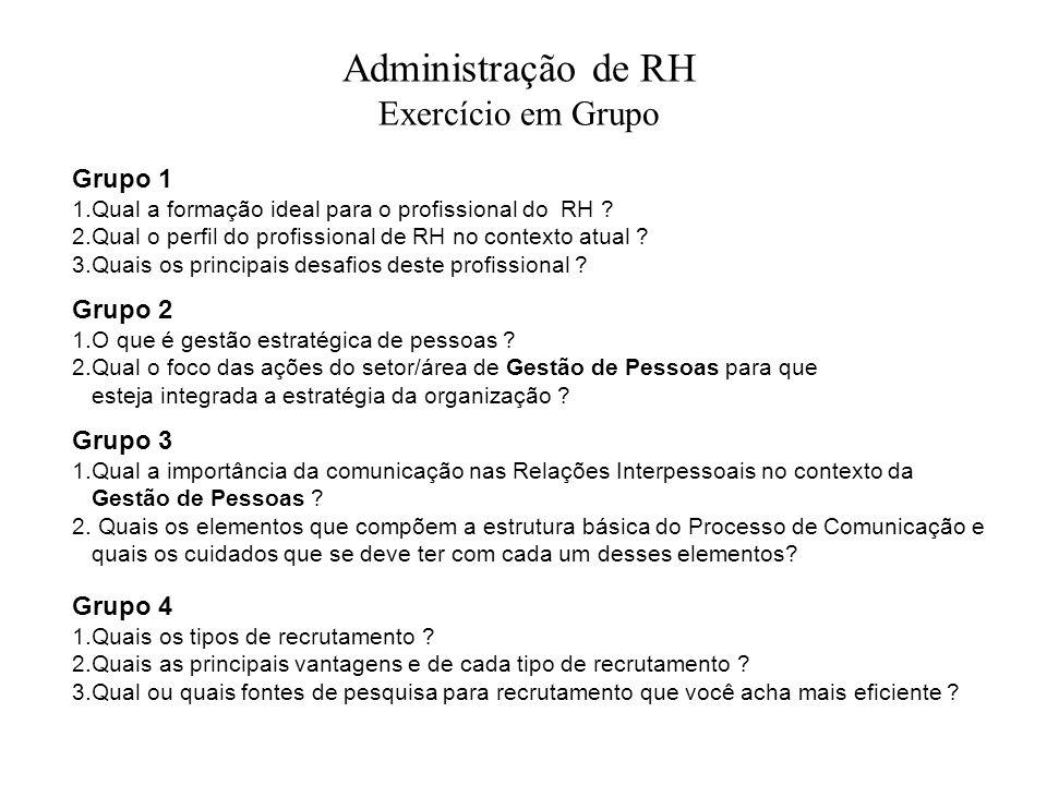 Administração de RH Exercício em Grupo Grupo 1 1.Qual a formação ideal para o profissional do RH ? 2.Qual o perfil do profissional de RH no contexto a